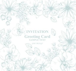 Beautiful flowers card Vector illustration. Floral pattern background. Line art hand drawn graphic style illustrations