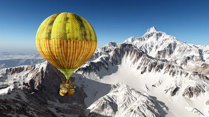 Fantasie Heißluftballon über den Bergen