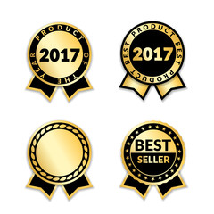 Ribbon awards best seller of year 2017 set. Gold ribbon award icons isolated white background. Best product golden label for prize, badge, medal, guarantee quality product Vector illustration