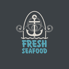 Vector emblem or banner for fresh seafood with an anchor, rope and words on the dark background in retro style.