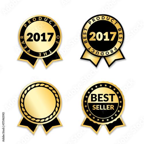 ribbon awards best seller of year 2017 set gold ribbon award icons
