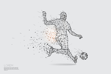 The particles, geometric art, line and dot of football player shooting