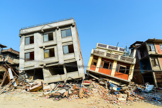 Aftermath of Nepal earthquake 2015, collapsed buildings in Kathmandu