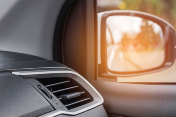 Close up interior auto air conditioning  system in modern car