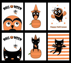 Set of hand drawn templates for Halloween greeting cards, invitations, posters, in orange, black and white, with cute cartoon characters and text.