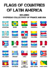 Set of flags of Latin America countries and dependent territories from brush strokes in grunge style isolated on white background. Vector illustration