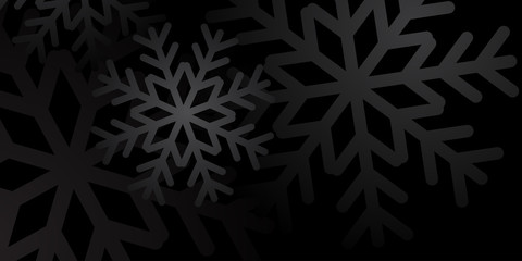 Christmas winter background. Christmas snowflakes. Black and white snow elegant Christmas background. Happy New Year card snowfall design for holiday, winter Xmas decoration Vector illustration