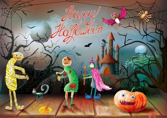 Happy Halloween night background