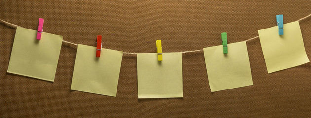 Clothes line photo hanging post note paper