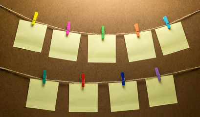 Clothes line photo hanging nine post note paper