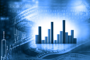 Stock market report, Business graph. 3d illustration