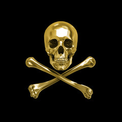 Golden Skull and Crossbones, 3D, Isolated Against a Black Background.