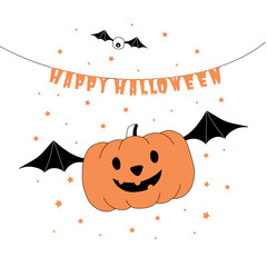 Hand drawn vector illustration of a funny cartoon pumpkin flying on bat wings,, with text Happy Halloween hanging on a string.