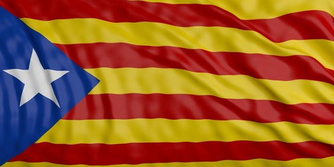 Catalonia waving flag background. 3d illustration