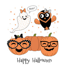 Hand drawn vector illustration of cute funny pumpkins in glasses, ghost with a bow saying Boo, flying owl, text Happy Halloween.
