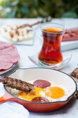 turkish breakfast with eggs sunny side up