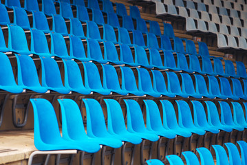 Blue plastic stadium seats