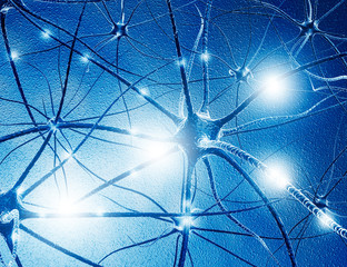 Neuron cells on abstract blue background. 3d illustration