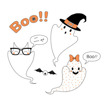 Hand drawn vector illustration of funny cartoon ghosts, with cat ears saying Meow (Nya) in Japanese, in a witch hat, with a ribbon saying Boo, with text Boo.