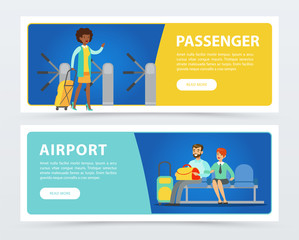 Set of flat design banners airport theme