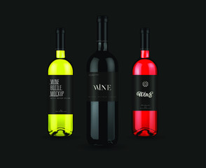 Wine bottle mockup design made in a realistic style. It can serve as a layout for future design.