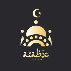 Golden design of mosque and moon