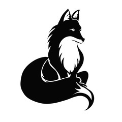 Fox tattoo. Vector illustration, isolated on white background