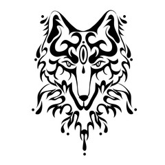 Fox or dog face, tattoo in tribal style. Vector illustration, isolated on white background