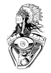 Fototapete - Indian and motorcycle