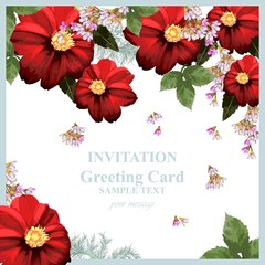 Watercolor Red chamomile flowers blossom card. Vintage colorful greeting card. Summer floral peonies. flower decoration bouquets