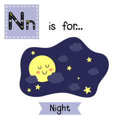 Cute children ABC alphabet N letter tracing flashcard of Night sky with the moon and stars for kids learning English vocabulary in Happy Halloween Day theme.