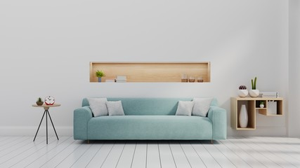 Interior with sofa blue and white color wall ,3d rendering