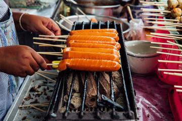Grilled Thai sausages, Chinag Mai, Thailand
