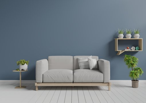 Living room with sofa, small shelf and plants, 3D rendering