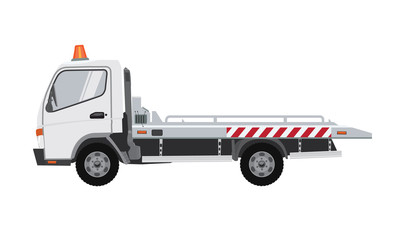 White empty tow truck. Flat vector with solid color design.