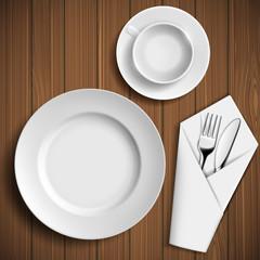 Set of ceramic plates and utensils