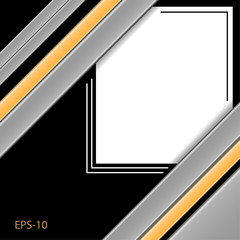 Abstract black background, frame from a baguette. yellow and gray stripes, vector design.