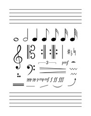 Notes, staff, clefs solfeggio set. Big music clipart collection