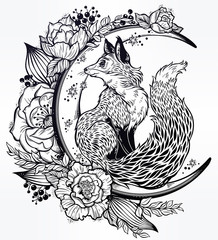 Fox on night floral crescent moon in vinatge style