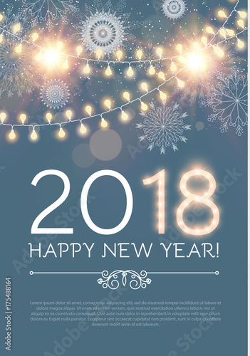 happy new year poster and flyer template lights snowflakes and fireworks design vector