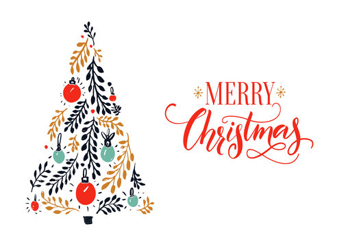 Merry Christmas card design with red calligraphy caption and hand drawn spruce tree.