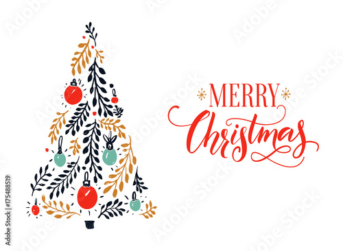 Merry Christmas card design with red calligraphy caption and hand ...