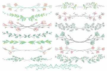 Vector Dividers with Branches, Plants and Flowers