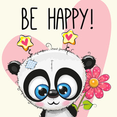 Be Happy Greeting card with panda