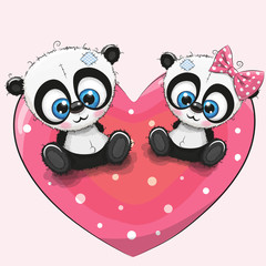 Cute Pandas is sitting on a heart
