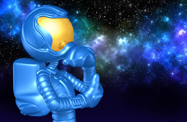 The Original 3D Astronaut Character Illustration In Thought