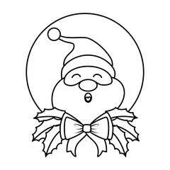 cute santa claus with bow character vector illustration design