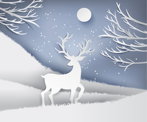 paper art landscape of Christmas and happy new year with tree and reindeer design. vector illustration