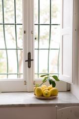 Lemons on a window sill