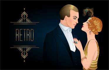 Beautiful couple in art deco style. Retro fashion: glamour man and woman of twenties. Vector illustration. Flapper 20's style. Vintage wedding invitation design template.
